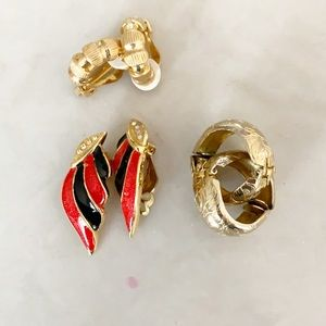 3/$25 🧚🏻♀️ vintage 1980s gold tone clip on earrings lot- 3 pairs